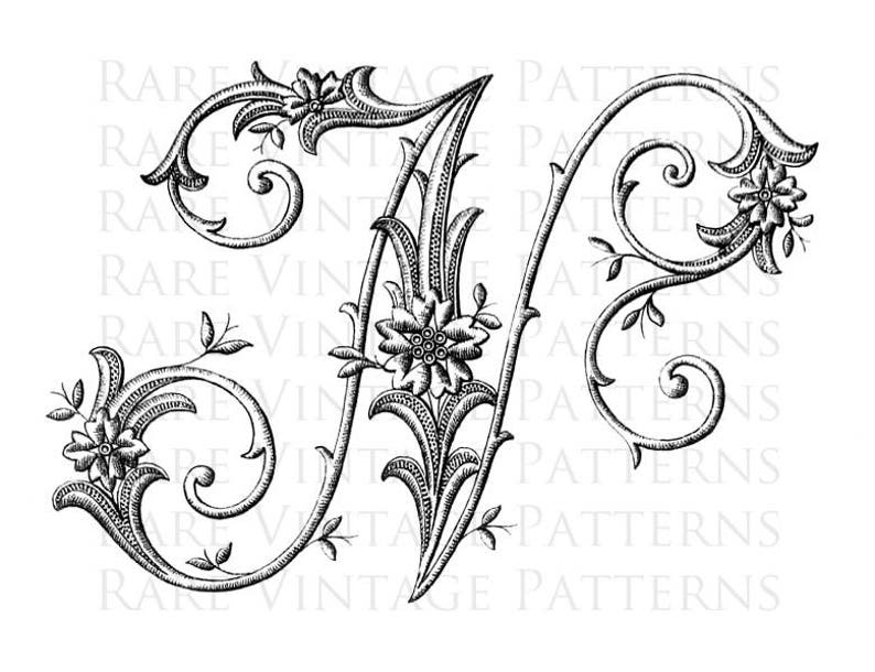 Monogram Initial Png Transparent and Jpg White Background Images Hand Embroidery Sewing Pattern N FRENCH ALPHABET #1 STENCIL Large Letter
