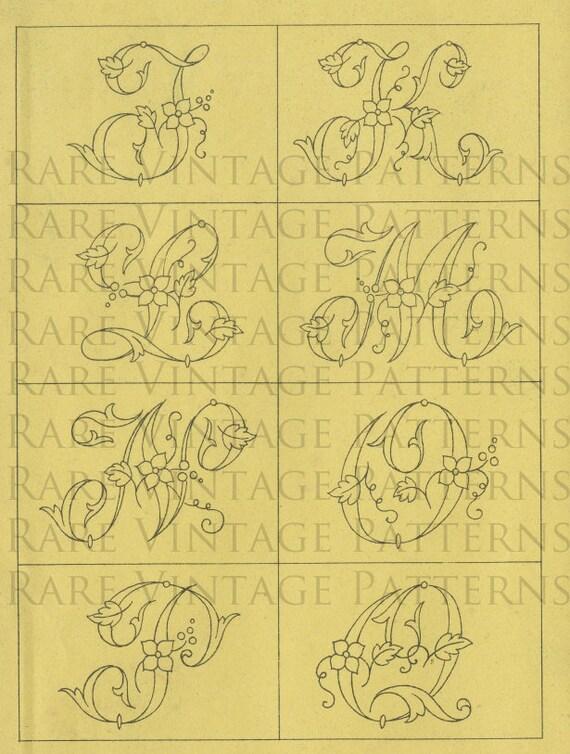 Francuski Alfabet Kwiatowy 8 Liter J K L M N O P Q Jpg 300 Dpi Etsy