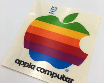 11dcba7d Vintage Apple Computer Rainbow Logo Sticker 4x4