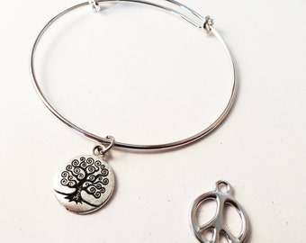 Bracelet - Adjustable with Tree of Life or Peace Symbol BS015