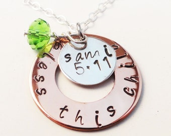 Bless This Child Necklace in Hand Stamped Sterling Silver and Copper - N0021