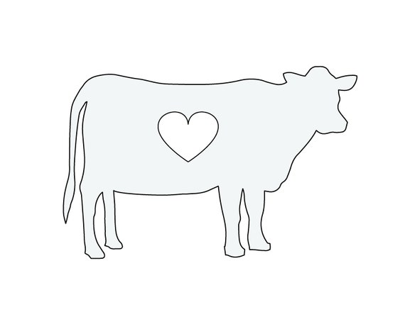10 w string art cow with heart pattern template etsy