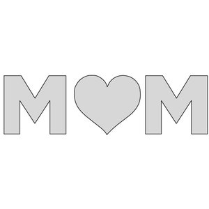 12.5 W  x 3.65 H String Art MOM with Heart Pattern  Template