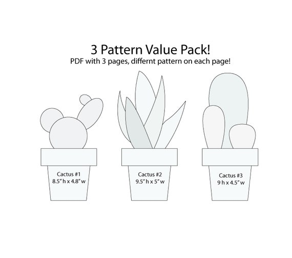 value pack string art 3 cactus pattern template house etsy