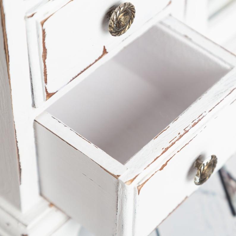 Shabby chic jewellery box Antique White Vintage jewellery armoire  Jewellery wardrobe Distressed Jewelry box
