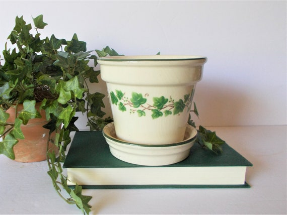 Etsy & Vintage Planter Ceramic Flower Pot Herb Planter Indoor PLanter Ivy decor English Country Decor English Cottage Decor Vintage Pottery