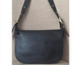 9bb3b5864c21 Vintage Coach Patricia s Legacy Black Leather Saddle Bag Crossbody Purse  9951