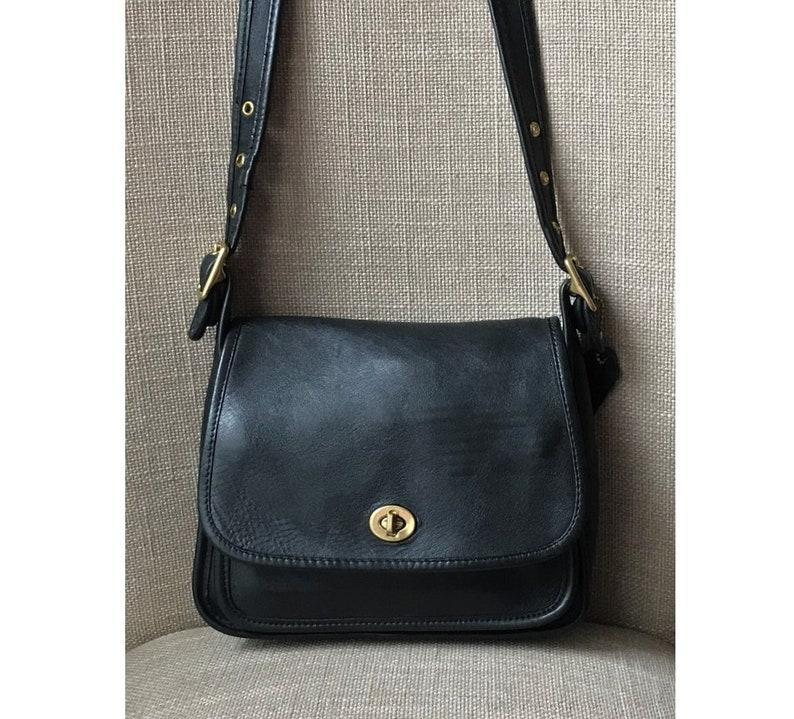 dfb207b3c4 Vintage COACH Rambler Black Crossbody Handbag 9061