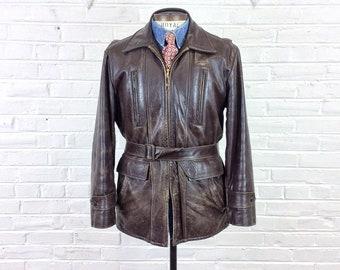 061c66594d Size M-L Vintage 1950s 1960s Belted Leather Car Coat
