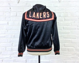 985d1aadb Size M-L Vintage 1940s 1950s Wilson Satin Lakers Warmup Pullover Jacket