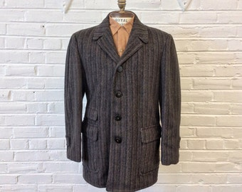 50s Gray Marbled Wool Overcoat with Plaid Lining Mens Size Large High End Coat Vintage Gray Wool Mens Coat 1950s Robert Hall Coat