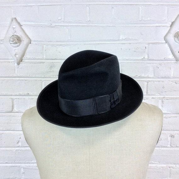 Size 7 Vintage 1930s Black Fur Felt Fedora