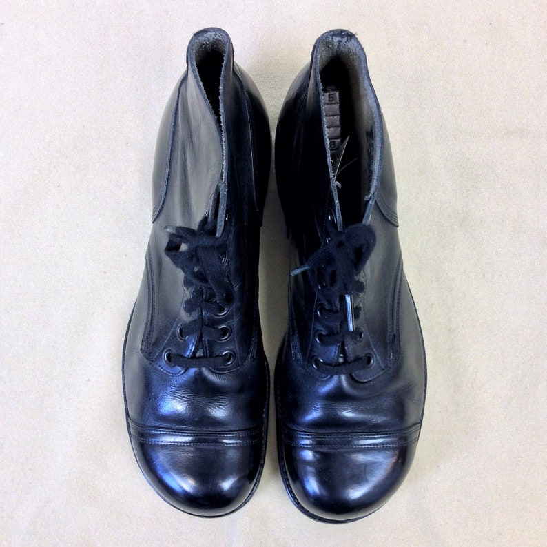 5c7c47688458d Size 12 Wide Vintage 1960s US Navy Black Low Quarter Cap Toe Ankle Boots  Service Shoes