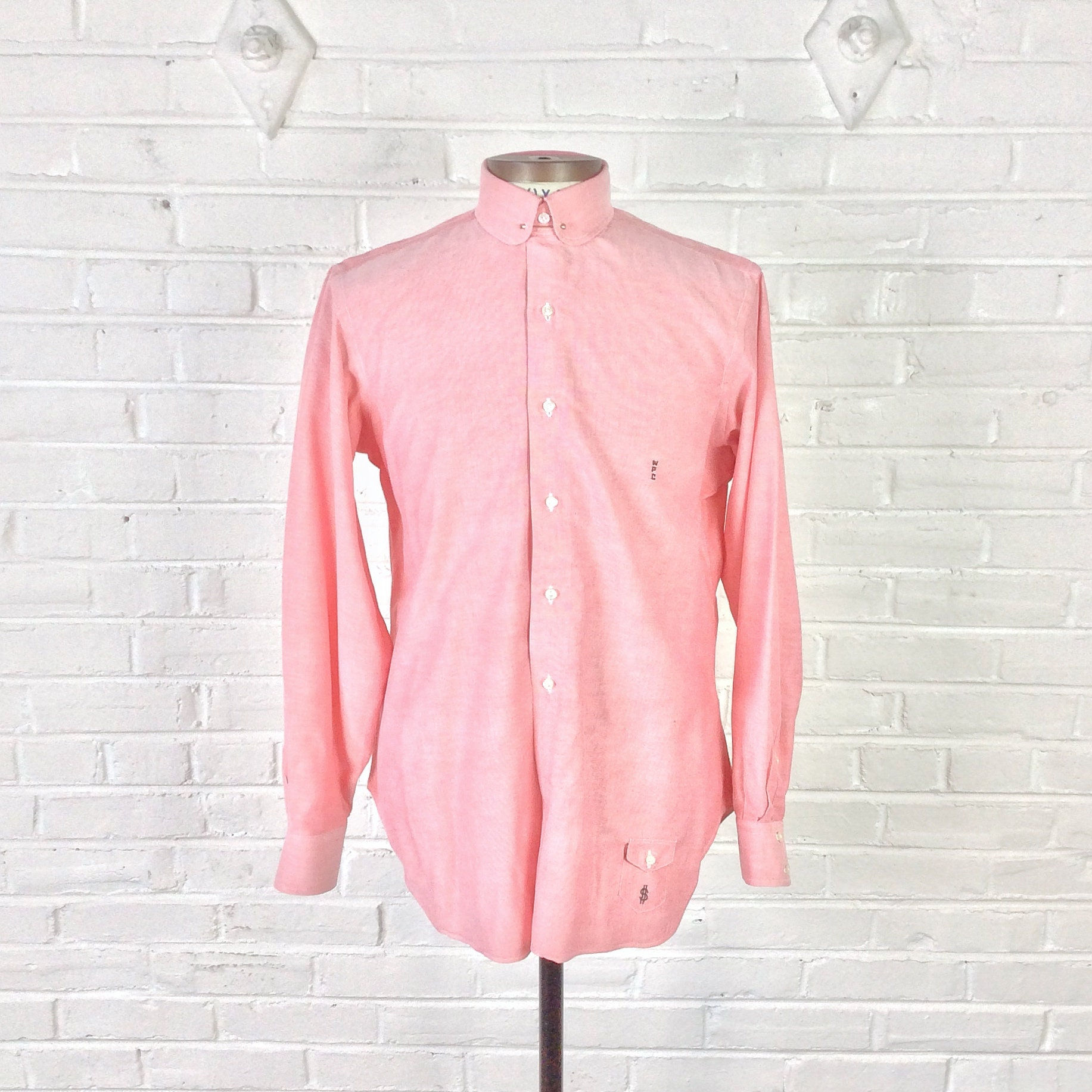 Size Ml Vintage 1960s Mens Club Pin Collar Coral Pink Dress Etsy
