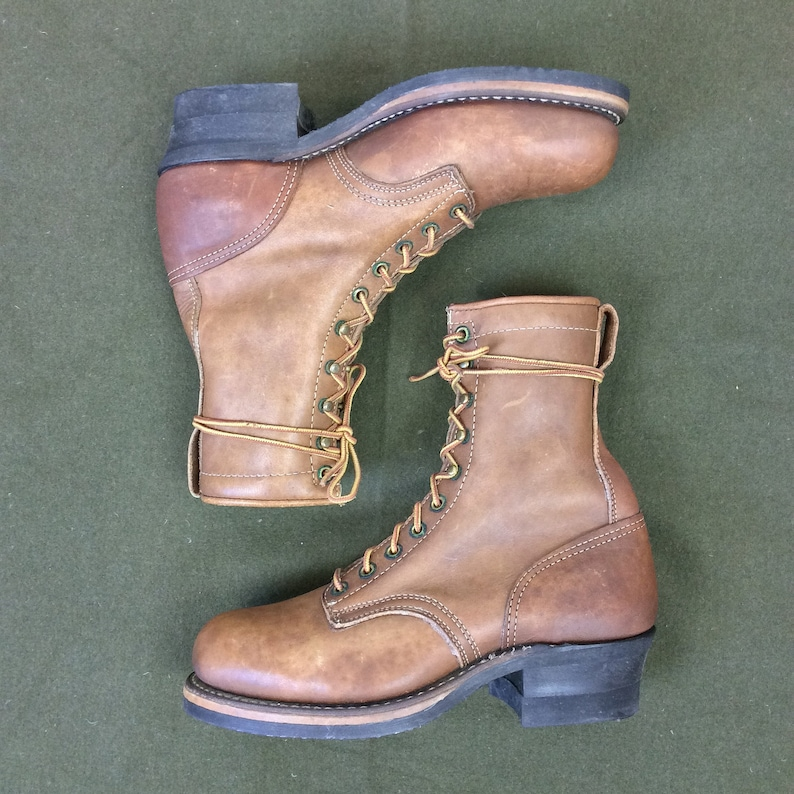 430b5060773 Size 7 EEE Vintage Men's Brown Steel Safety Toe Logger Packer Boots with  Vibram Soles and Stacked Heel