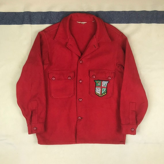 Size 42 Vintage Boy Scout Red Wool Shirt Jacket wi