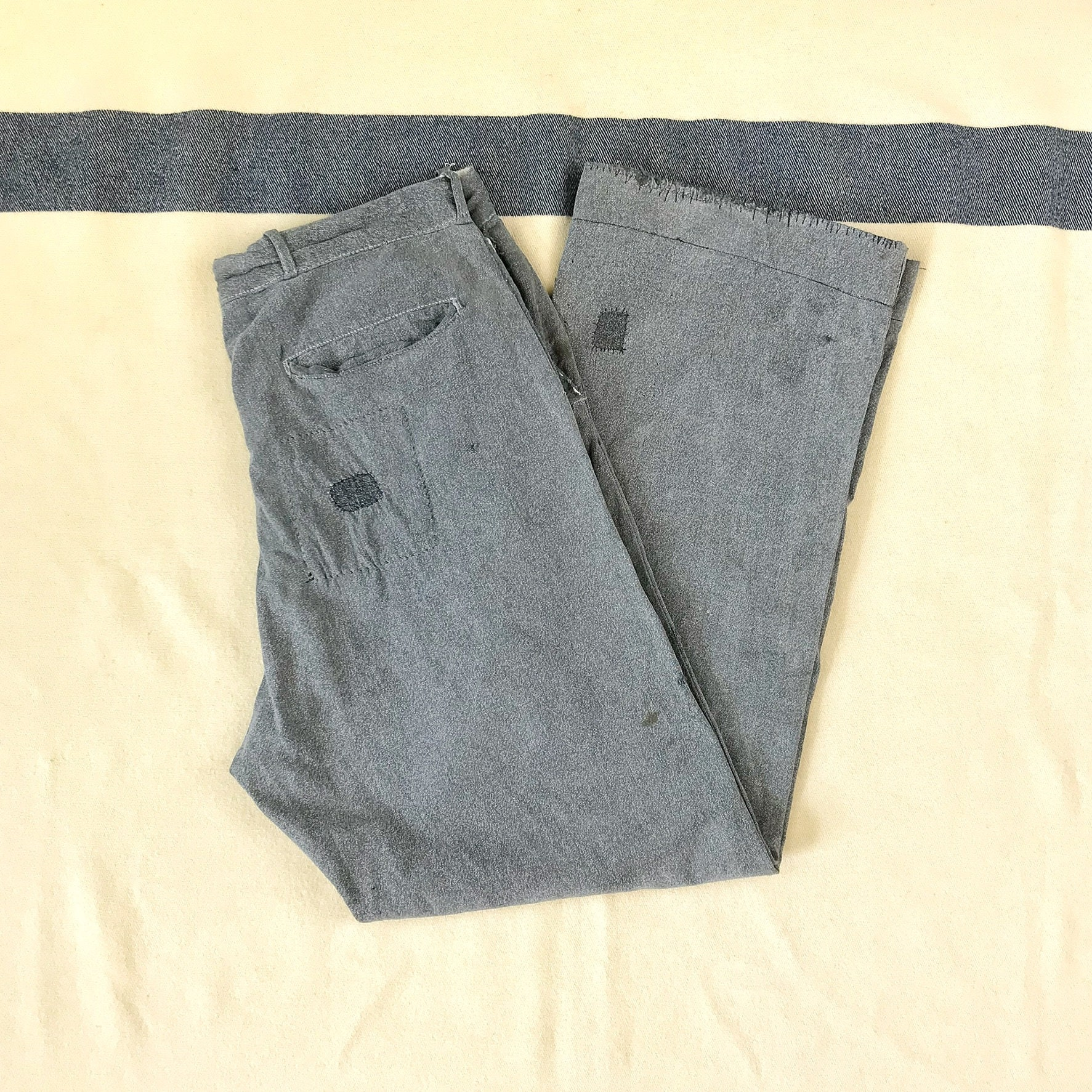 New 1930s Mens Fashion Ties Size 33x29 Vintage Mens 1930S 1940S Salt  Pepper Covert Cloth Cotton Twill Distressed Gray Work Pants With Visible Mending $0.00 AT vintagedancer.com