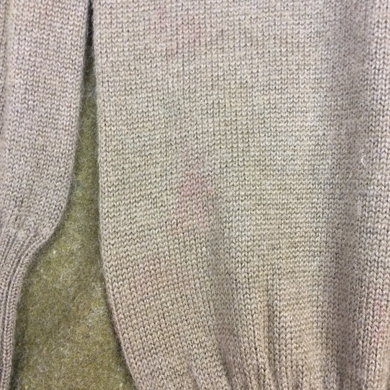 Size XS Vintage WWII Highneck Sweater in Mustard Green Wool