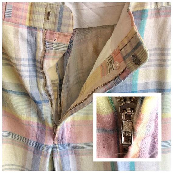 Vintage 1980s Pastel Plaid GTH Pants. Size 36x25 … - image 4