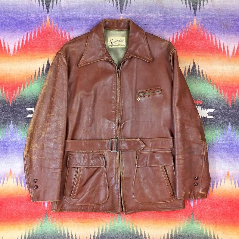 Size M Vintage Mens 1940s Sportclad Horsehide Brown Leather image 0