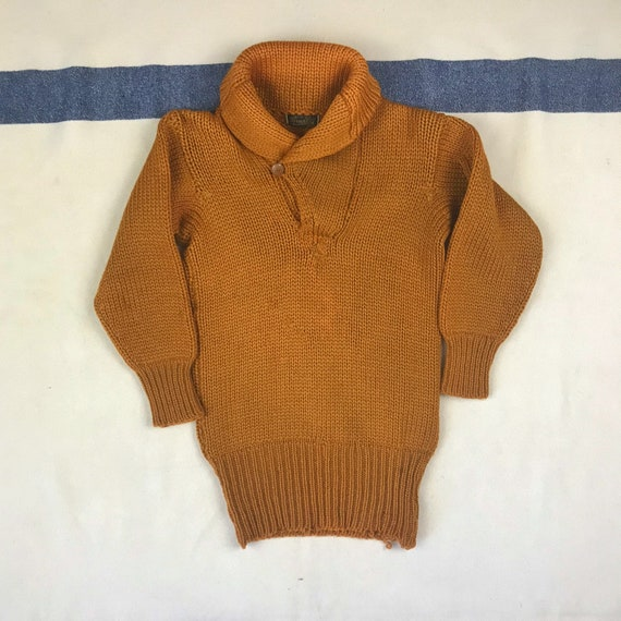 Boys Vintage 1920s 1930s Orange Shawl Collar Pullo