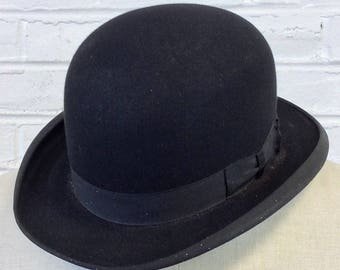 Size 7 Vintage 1910s 1920s Stetson Featherweight Black Bowler Hat