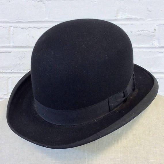 Size 7 Vintage 1910s 1920s Stetson Featherweight Black Bowler Hat 65f91cc2e99