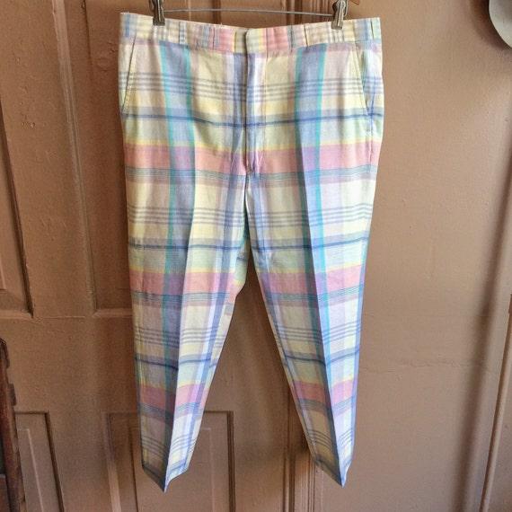 Vintage 1980s Pastel Plaid GTH Pants. Size 36x25 … - image 1