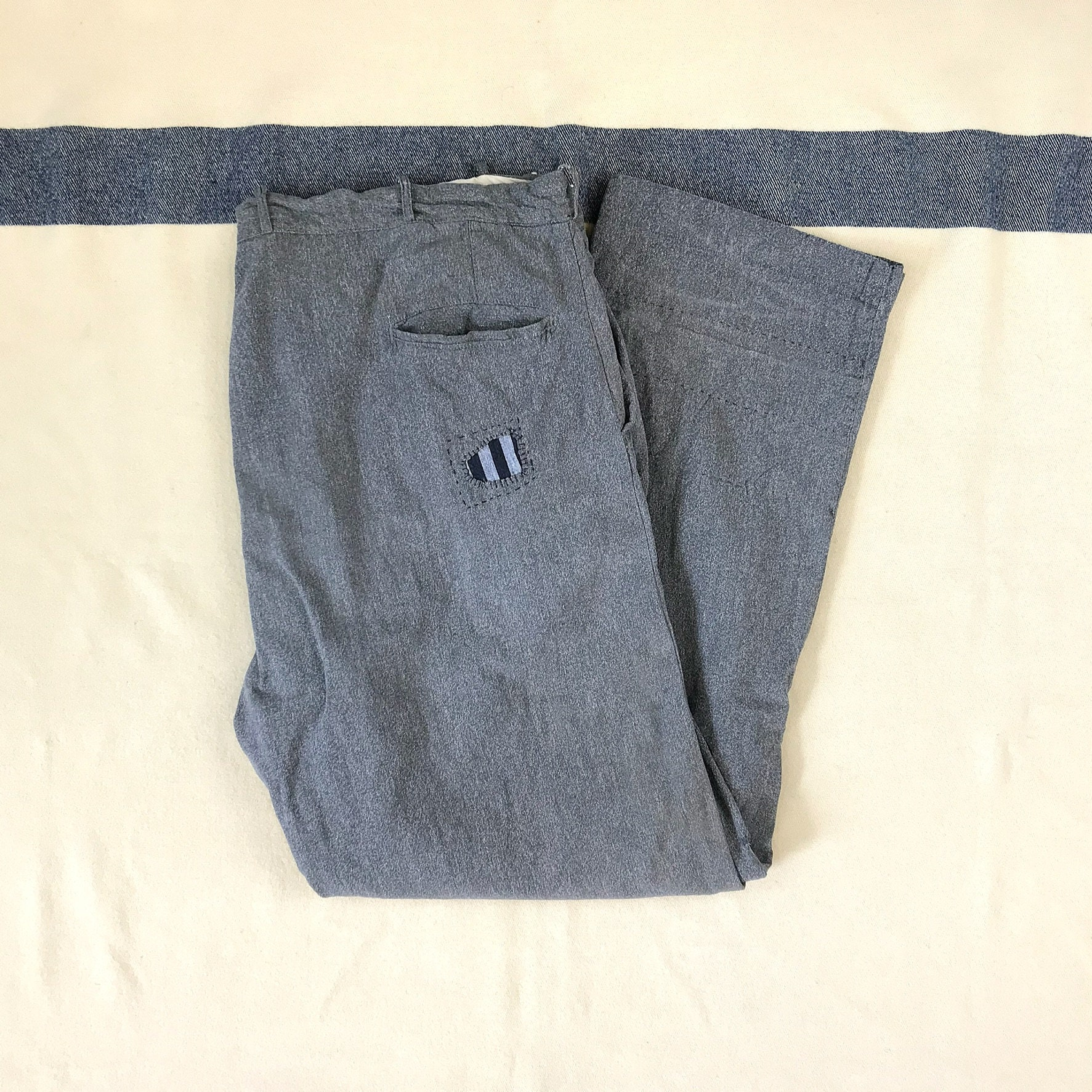 New 1930s Mens Fashion Ties Size 42x31 Vintage Mens 1930S 1940S Salt  Pepper Covert Cloth Cotton Twill Distressed Gray Work Pants With Visible Mending $0.00 AT vintagedancer.com