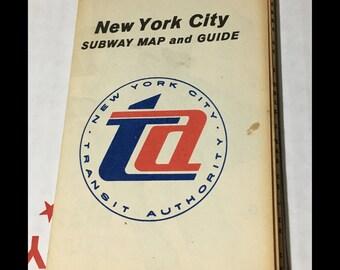 New York City Subway Map 1960s.Nyc Subway Map Etsy
