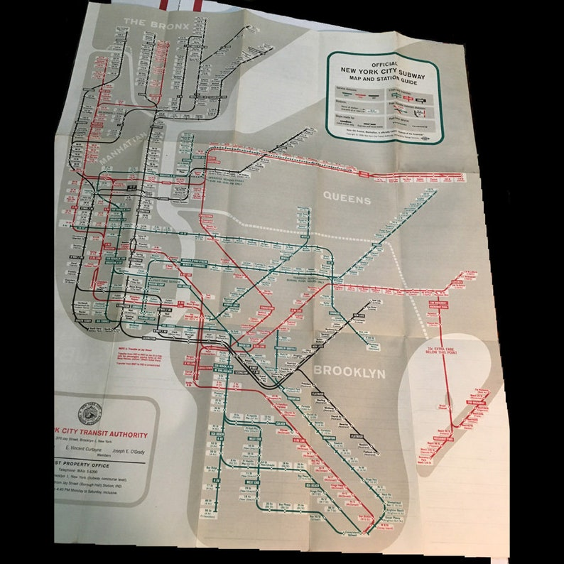 Original Nyc Subway Map.Original 1958 Nyc Subway Map In Great Lightly Used Condition Great Nyc Transit History Free Shipping
