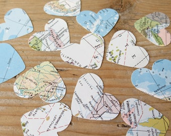 upcycled Vintage World map Confetti Hearts