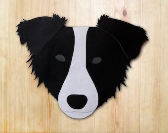 Border Collie Dog Head Greeting Card - Blank