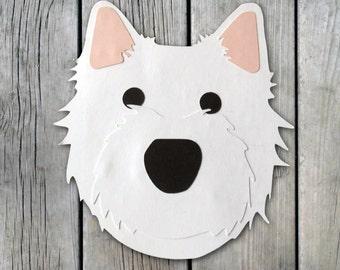 West Higland Terrier Dog Head Greeting Card - Blank