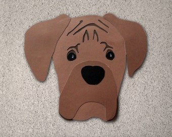 Boxer Dog Head Greeting Card - Blank