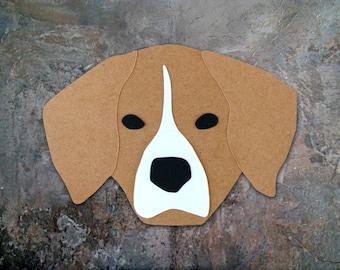 Beagle Dog Head Greeting Card - Blank