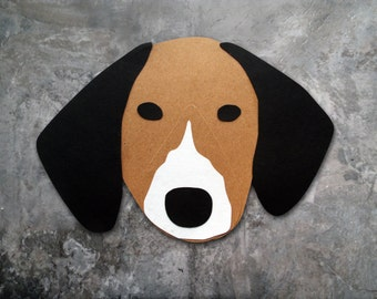 Coonhound Dog Head Greeting Card - Blank
