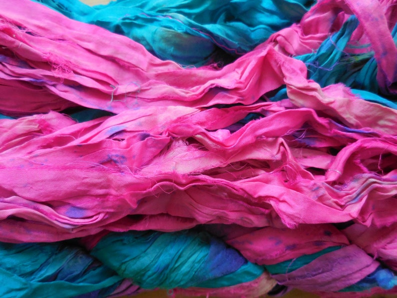 Fair Trade from India Bright Pink and Blue 100 gram skein Summer Colors