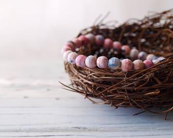 Women's Handmade Pink Rhodonite Gemstone Beaded Bracelet | Pink Gemstone | Natural Gemstone Bracelet | Pink Bracelet | Gift For Her