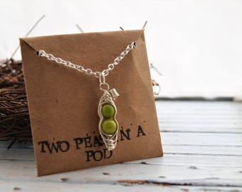 Personalized Two Peas in a Pod Pendant Necklace | Peas in a Pod Jewelry | Green Pea Pod Necklace | Mother Gift | Best Friend Jewelry | Gift
