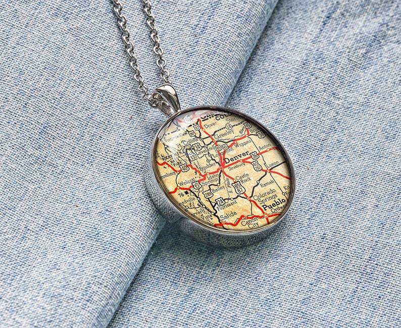 Vintage 1942 Denver map necklace Colorado map jewelry pendant map charm  gift for girlfriend M0073CP