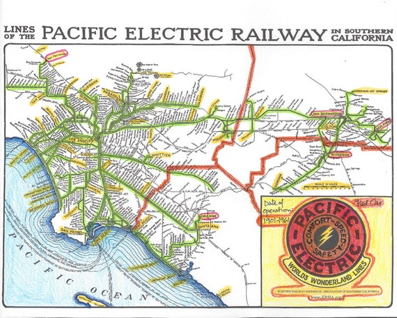 pacific electric railway map 073 1901 1961 Pacific Electric Railway Map Red Car System Etsy pacific electric railway map
