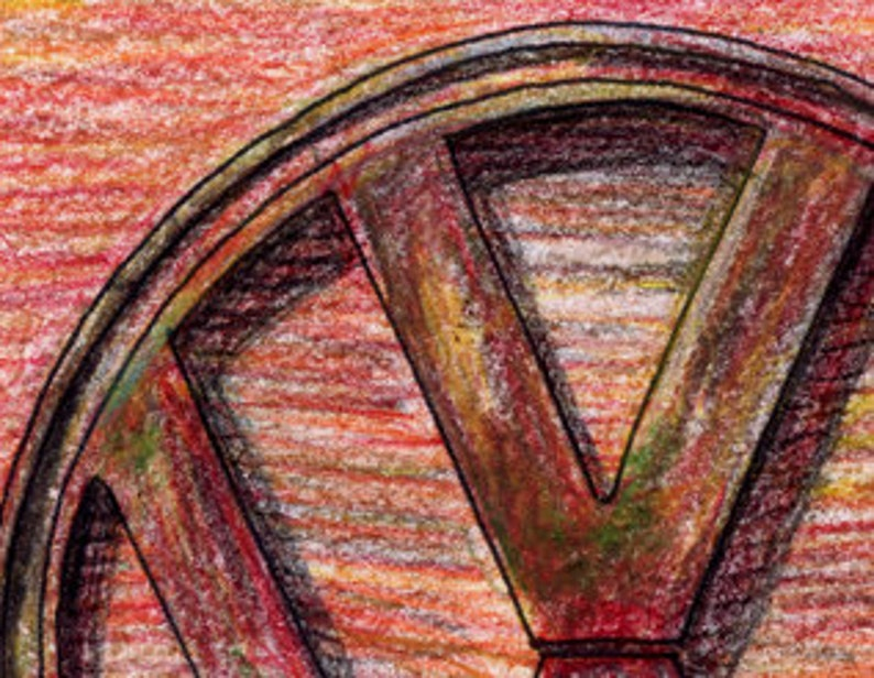033-VW Vokswagen 8x10, 16X20 Print Emblem in Color Pencil Limited Edition Run of 50