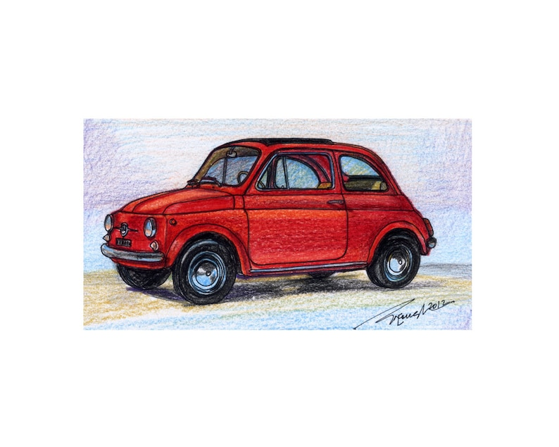 029 1957 Fiat 500 Nuova By Dante Giacosa In Color Pencil Print Limited Edition Run Of 50 8x10 16x20