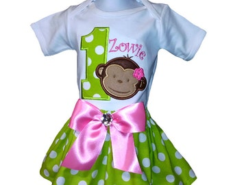 Girls Mod Monkey Birthday Outfit