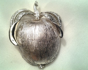 vintage costume jewelry brooch pin apple fruit silver