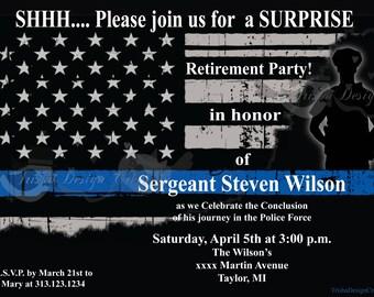 Police Retirement Invitation Etsy