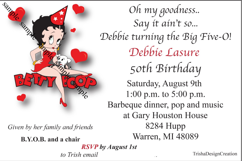 Betty Boop 50th Theme birthday EACH Invitation