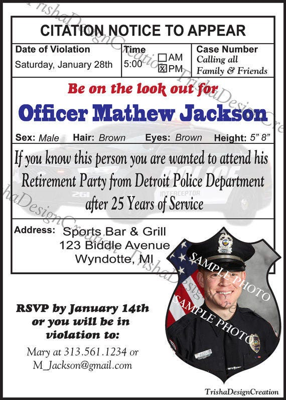 Police Theme Retirement Party Invitation Printable
