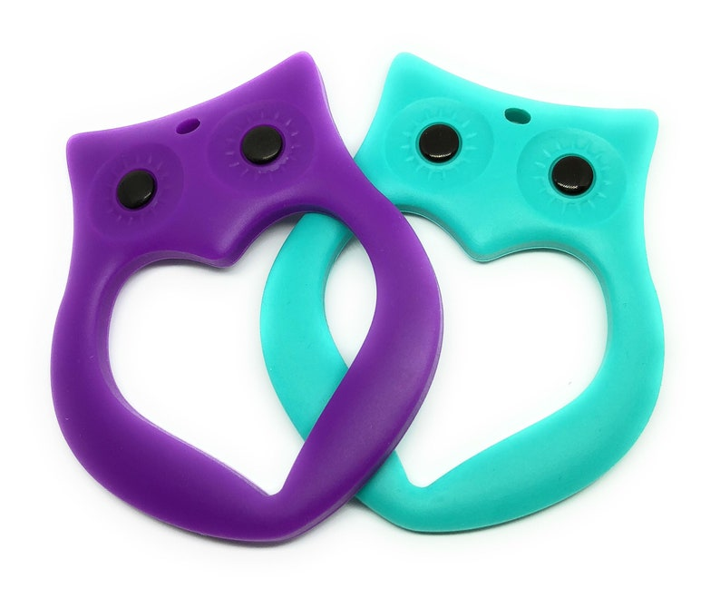 2 of each color Silicone Toy or Pendant free cord /& clasp Teething Owl 4 pack